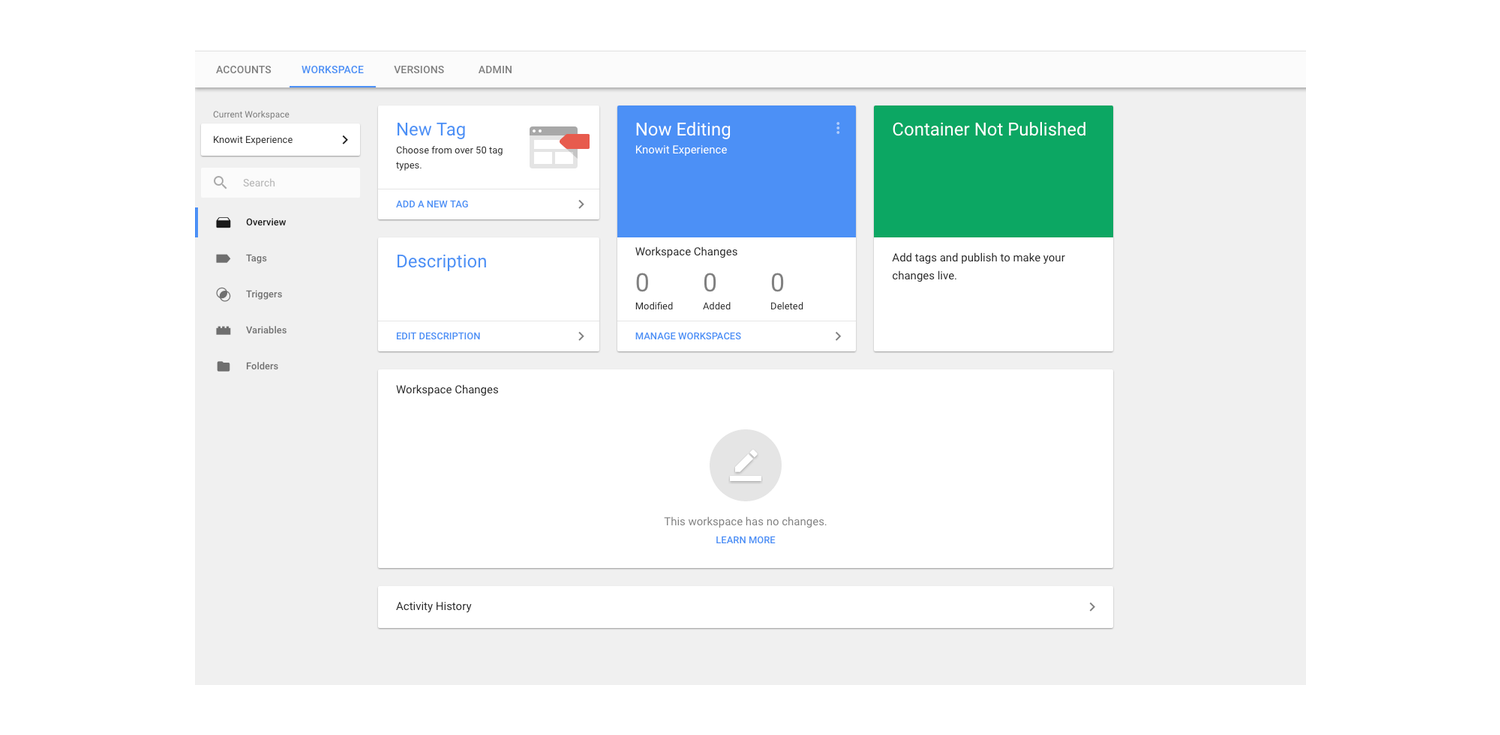 Dashboard från Google Tag Manager