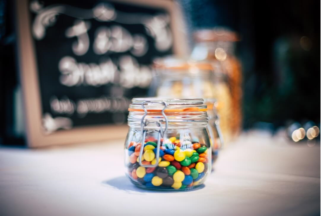 Jar filled with colorful sweets