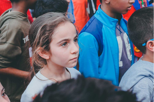A girl in a crowd