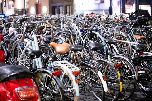 bikes parked in a crowd